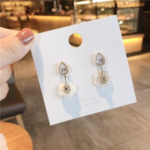 Niche Zircon 925 Silver Stud Earrings Graceful Online Influencer Stylish Flower Earrings Korean Eardrops Earrings for Women