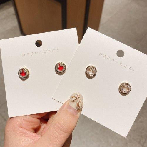 Korean Style Sterling Silver Needle Zircon Simple Shell Circle Ear Studs Female Internet Celebrity Ins Style Earrings