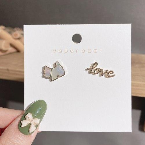 Sterling Silver Needle Partysu Cute Cartoon Puppy Shell Stud Earrings Personality Asymmetric Alphabet Letter Earrings Earrings