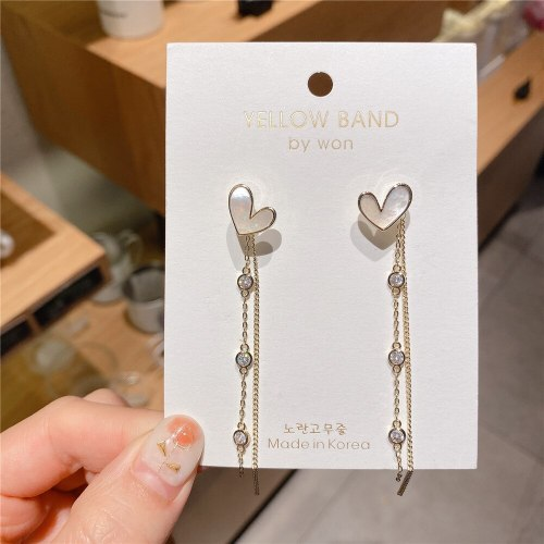 Long Sterling Silver Needle 14K Gold Plated Heart-Shaped Earrings Trending Unique Tassel Earrings Stud Earrings Wholesale