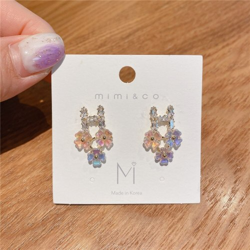 Sterling Silver Needle Flower Earrings Gold Plated Micro Zircon-Encrusted Stud Earrings Elegant Internet Popular Earrings