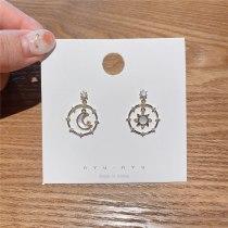 Korean Style Sense of Design Sterling Silver Needle Moon XINGX Earrings Shell Circle Gold Plated Zircon Stud Earrings for Women