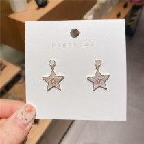Korean Style 925 Silver Needle Gold-Plated Shell Luxury Pentagram Earrings Fresh Hot Sale Zircon Ear Studs Earrings for Women