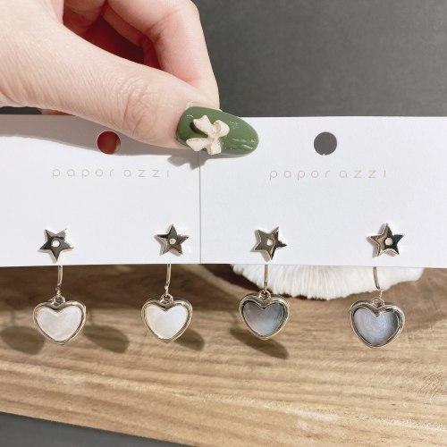 Ins Vintage Earrings Women's 925 Silver Needle Fashion Designer Model Back-Mounted Shell Love Heart Earrings Stud Earrings