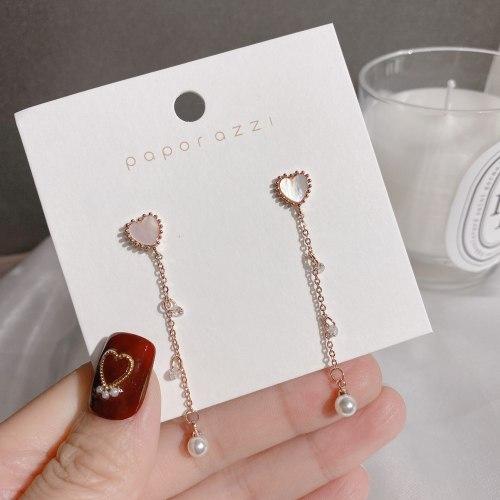 Sterling Silver Needle Korean Style Vintage Earrings Long Heart Shell Tassel Earrings Temperament Rose Gold Stud Earrings