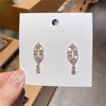 Design Plated 14K Gold Ear-Ring Clip Sterling Silver Needle Shell Fine Zircon-Embedded Earrings Korean Style Geometric All-Match