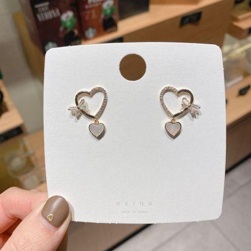 New Heart Shell Zircon Bow Earrings Valentine's Day Gift 925 Silver Ear Studs Earrings for Women