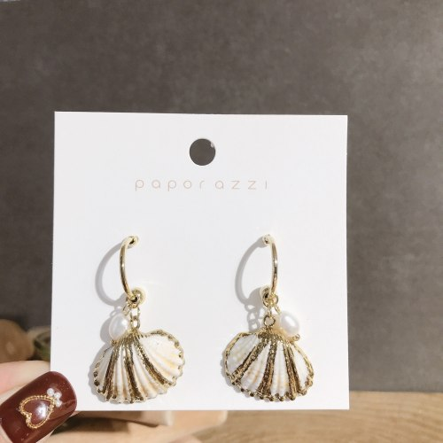 Sterling Silver Needle Creative Niche Design Shell Earrings Korean Exaggerated Personalized Pearl Earrings