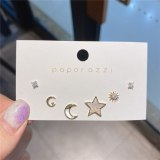Zircon Set Series Moon XINGX Earrings Sterling Silver Needle Gold Plated Simple All-Match Temperamental Stud Earrings Earrings
