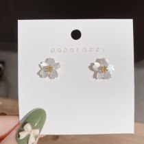 Shell Flower Ear Studs Japanese and Korean Partysu Petals Sterling Silver Needle Summer Age Reduction Eardrops Earrings