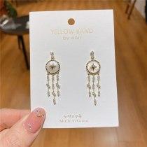 Korean Creative Shell Earrings 925 Silver Needle Zircon Light Luxury Earrings Socialite Style Net Red Tassel Earrings