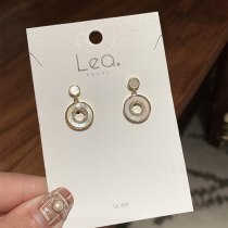 Korean Style Micro-Inlaid Circle Shell Earrings 925 Silver Needle Series 18K Gold-Plated Inlaid Multi-Zircon Earrings for Women
