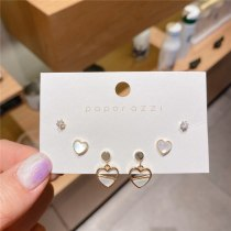 Three-Piece Gold-Plated Zircon Series Korean Style Temperament Heart-Shaped Earrings 925 Silver Needle All-Match Earrings