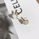 Japanese and South Korean Cute Cartoons Bunny Ear Studs Sterling Silver Needle Colorful Shell Bow Zircon Animal Small Earrings