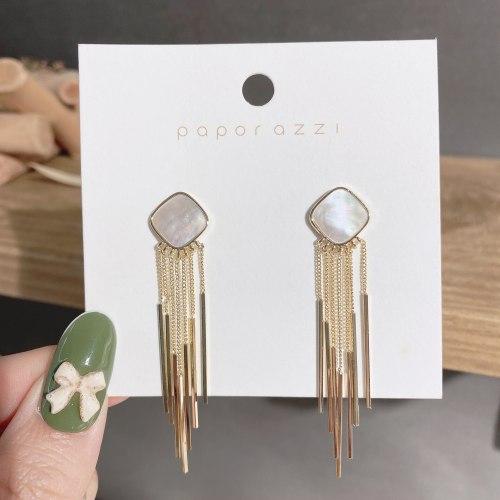 Cross-Border Fashion European and American Style New Earrings Light Luxury Minority Square Shell Tassel Earrings Elegant Jewelry
