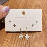 Zircon Set Earrings Korean Style Sterling Silver Needle Small Shell Flower Earrings Instagram Mesh Red Style Earrings Ear Studs