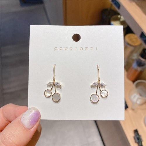 All-Match Internet Celebrity Same Cherry Ear Hook Copper Gold Plated All-Matching Graceful Ins Style Freshess Earrings Earrings