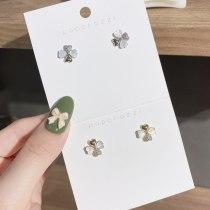 Korean Style Sterling Silver Needle Gold-Plated Inlaid Zircon Earrings Internet Celebrity Personalized Earrings Ins Earrings