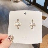 Korean Style 925 Silver Pin Earrings All-Match Shell Stud Earrings Online Influencer Refined Tassel Earrings Women