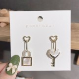 Ins Retro Exaggerated Earrings Designer Model European and American Style Personality Asymmetric Key Lock Shell Earrings Female