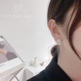 Fashion New Design Sense Geometric Alphabet Letter Earrings Female Korean Style Shell Zircon Sterling Silver Needle Earrings