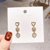 Sterling Silver Needle Elegant Lady Vintage Earrings Simple Heart Shell Zircon Tassel Earrings Internet Influencer Stud Earrings