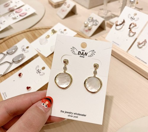Sterling Silver Needle Small Circle Earrings Korean Elegant Shell Earrings Online Influencer Tassel Personality Wild Earrings