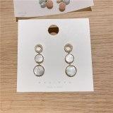 European and American Circle Shell Earrings 925 Silver Needle Zircon Earrings Korean Style Elegant Pearl Tassel Earrings Women