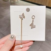 Korean 925 Silver Needle Asymmetric Temperament Natural Shell Butterfly Pearl Earrings Zircon Inlaid