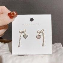 Ins Internet Celebrity Hot-Selling Earrings Retro Minimalist Bowknot Zircon Tassel Earrings Heart Shell Earrings for Women