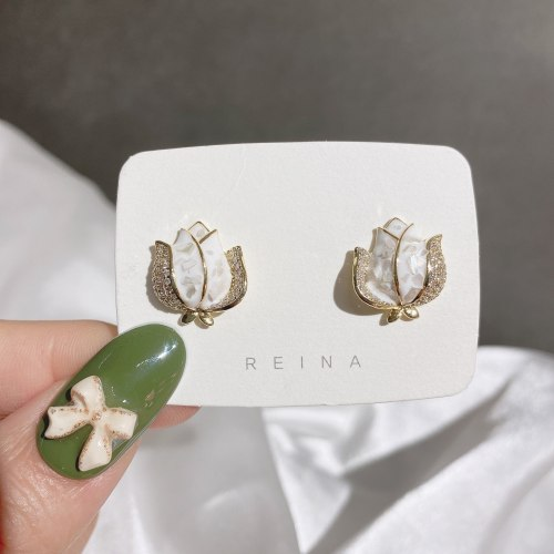 Korean Style Elegance Retro Earrings Net Red Wind Personalized Dripping Shell Rose Earrings Micro Zircon-Encrusted Stud Earrings