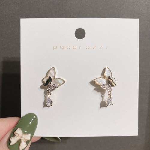 Japanese and Korean New Fresh Double Sheng Butterfly Studs Elegant Shell Zircon Sterling Silver Needle Gold Plated Earrings