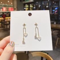 Personalized 925 Silver Needle Asymmetric Love Korean Style Shell Zircon Ear Studs Korean Earrings Women