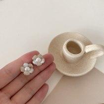 Sterling Silver Needle Sweet Lady Flower Earring Earrings Simple Temperament Freshwater Pearl Ear Studs Micro Inlaid Earrings