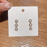 Korean Style Sterling Silver Needle Opal Earrings Zircon Stud Earrings Fresh All-Matching Simple Versatile Personalized Earrings