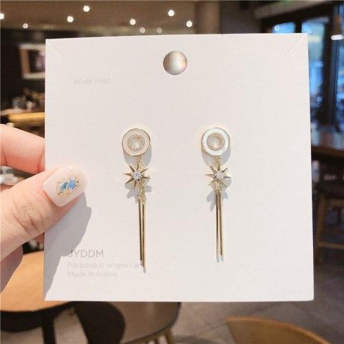 Korean Style 925 Silver Needle All-Match Personalized Earrings Tassel Temperament Online Influencer Tassel Shell Stud Earrings