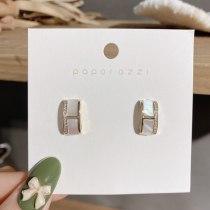 New Geometric Shell Hollow Zircon Stud Earrings Korean Style Elegant Refined and Simple Style Earrings for Women