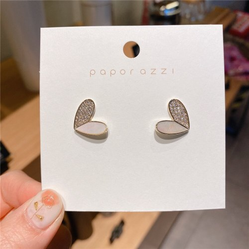 Korean Style 925 Silver Needle Gold-Plated Asymmetric Heart Shaped Love Earrings Inlaid Zircon Ear Studs Earrings for Women