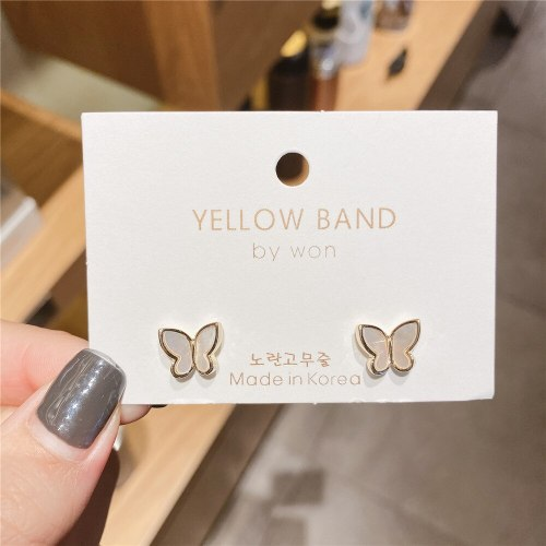 Korean Style Indie and Minimalism S925 Silver Pin Shell Earrings Wholesale Gold-Plated All-Match Small Butterfly Studs Earrings