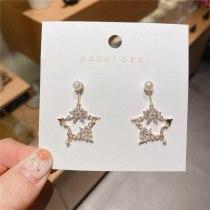 Five-Pointed Star Korean Style Pearl Earrings Long Graceful Online Influencer Personality Niche Online Red Simple Stud Earrings