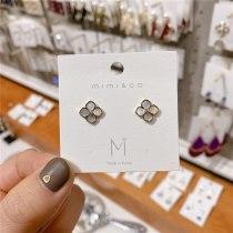 Korean Style Sterling Silver Needle Gold-Plated Natural Shell Earrings Design Zircon Ear Studs Earrings