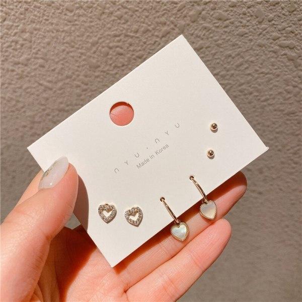 Gold-Plated Set Korean Style Sterling Silver Needle Shell Love Heart Earrings Inlaid Fashion Zircon Earrings