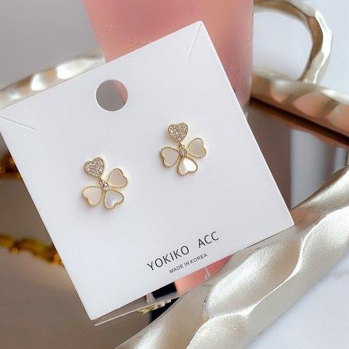 Korean Style Ins Internet Hot Zircon Earrings S925 Heart Shell Earrings Popular Earrings