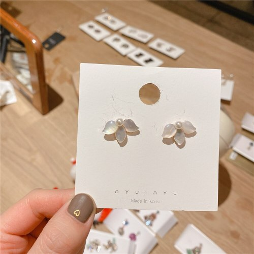 Japanese and Korean Partysu Elegant Sterling Silver Needle Small Shell Earrings Socialite Style Gold Plated Ear Studs