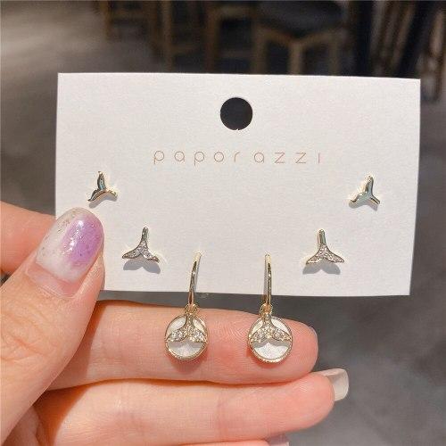 Zircon Set Series Korean Style Sterling Silver Needle Gold Plated Fishtail Earrings Mermaid Earrings Fashion Earrings for Women