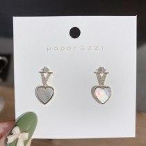 Creative Design Geometric Fine Zircon-Embedded Earrings Female Texture Love Gray Shell Earrings Sterling Silver Needle