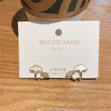 Korean Internet Celebrity Same Style Personalized Leaf Shell Earrings Zircon Micro-Inlaid Gold Plated 925 Silver Pin Earrings