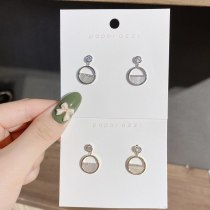 14K Gold Plated Inlaid Zircon Shell Stud Earrings Hollow Sterling Silver Needle Earrings Korean Style Circle Fashion Earrings