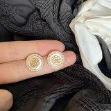 Sterling Silver Needle Korean Vintage Shell Flower Stud Earrings Simple Elegant Zircon Gold Plated Earrings for Women