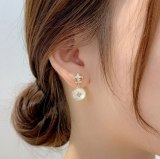 Korean Style Personalized 925 Silver Pin Earrings Artistic Temperament Shell Earrings Internet Celebrity Earring with Same Kind